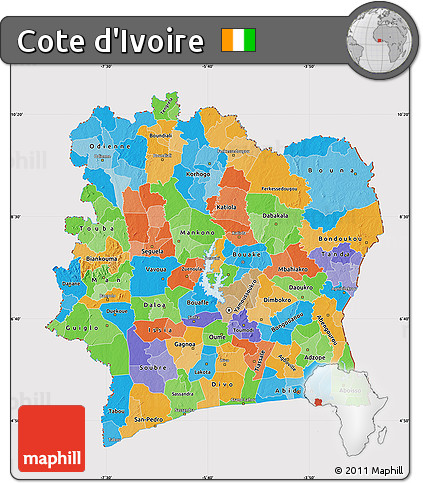 Free Political Map of Cote DIvoire cropped outside