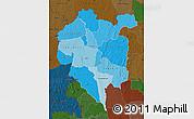 Political Shades Map of Odienne, darken