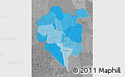 Political Shades Map of Odienne, desaturated