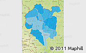 Political Shades Map of Odienne, physical outside