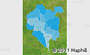 Political Shades Map of Odienne, satellite outside