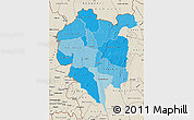 Political Shades Map of Odienne, shaded relief outside