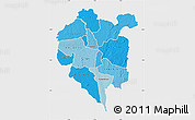Political Shades Map of Odienne, single color outside