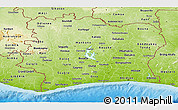 Physical Panoramic Map of Cote d'Ivoire