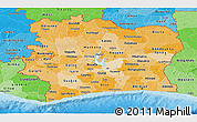 Political Shades Panoramic Map of Cote d'Ivoire