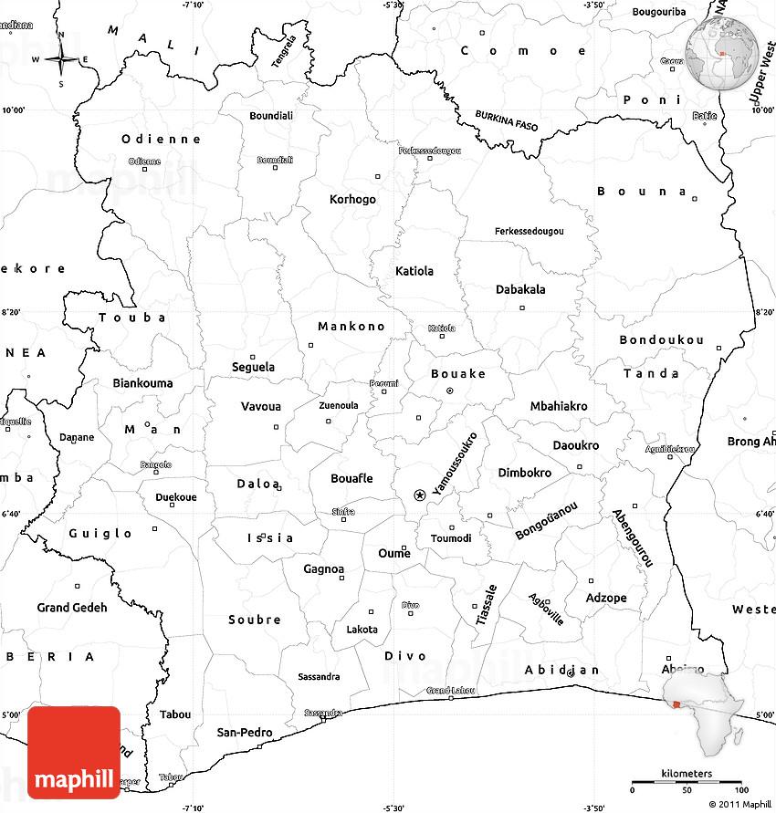Blank Simple Map Of Cote DIvoire - Cote d'ivoire map