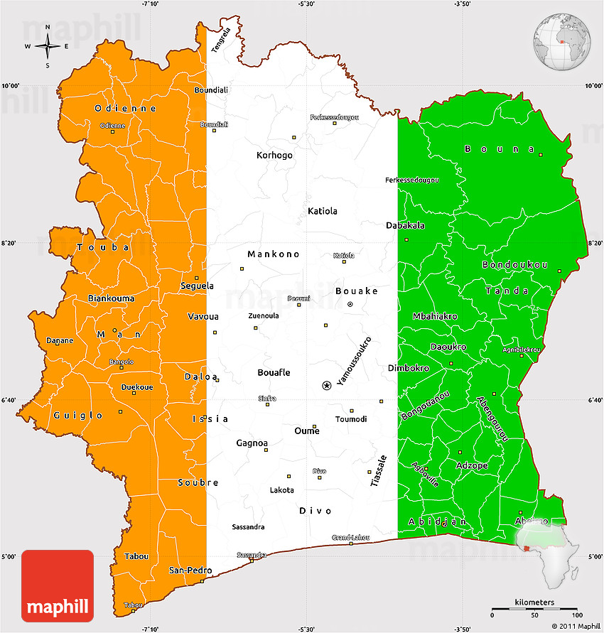 Flag Simple Map Of Cote DIvoire - Cote d'ivoire map