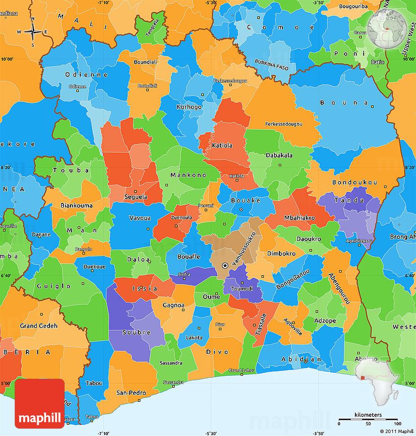Political Simple Map of Cote DIvoire