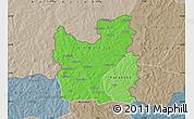 Political Shades Map of Tengrela, semi-desaturated