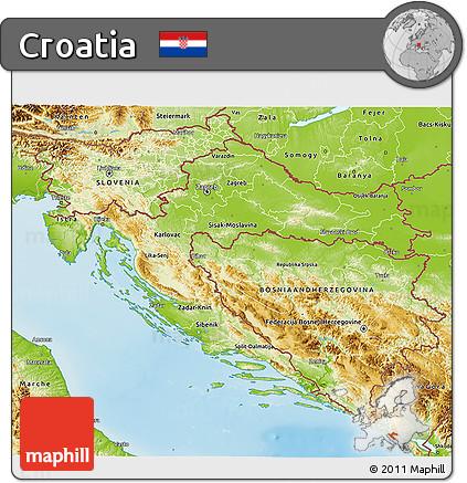 Free Physical 3D Map of Croatia
