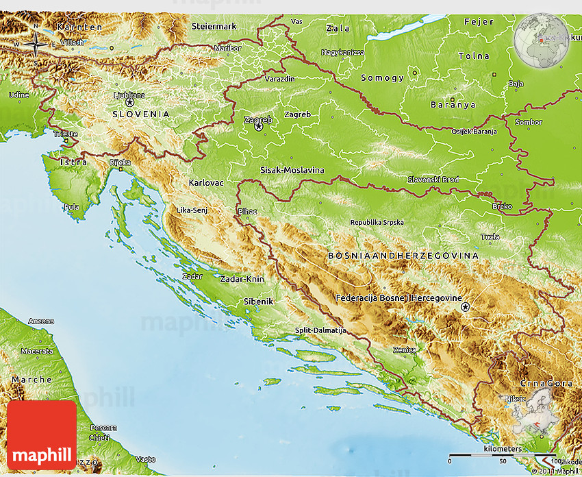 Physical D Map Of Croatia - Croatia physical map