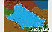 Political 3D Map of Bjelovar-Bilogora, darken
