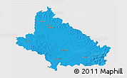Political 3D Map of Bjelovar-Bilogora, single color outside