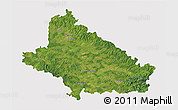 Satellite 3D Map of Bjelovar-Bilogora, cropped outside