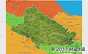 Satellite 3D Map of Bjelovar-Bilogora, political outside