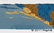 Political 3D Map of Dubrovnik-Neretva, darken