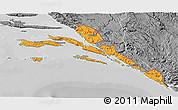 Political 3D Map of Dubrovnik-Neretva, desaturated