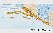 Political 3D Map of Dubrovnik-Neretva, lighten