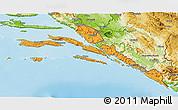 Political 3D Map of Dubrovnik-Neretva, physical outside