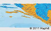 Political 3D Map of Dubrovnik-Neretva