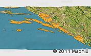 Political 3D Map of Dubrovnik-Neretva, satellite outside
