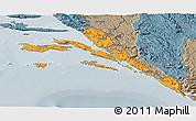 Political 3D Map of Dubrovnik-Neretva, semi-desaturated