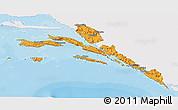 Political 3D Map of Dubrovnik-Neretva, single color outside