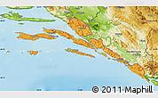 Political Map of Dubrovnik-Neretva, physical outside