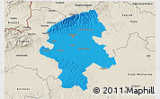 Political 3D Map of Grad Zagreb, shaded relief outside