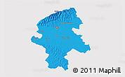 Political 3D Map of Grad Zagreb, single color outside