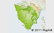 Physical 3D Map of Istra, lighten