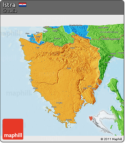 Political 3D Map of Istra