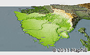 Physical Panoramic Map of Istra, darken