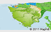 Physical Panoramic Map of Istra, political outside