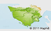 Physical Panoramic Map of Istra, single color outside