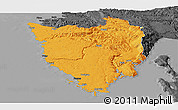 Political Panoramic Map of Istra, darken, desaturated