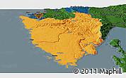 Political Panoramic Map of Istra, darken