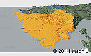 Political Panoramic Map of Istra, darken, semi-desaturated