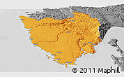 Political Panoramic Map of Istra, desaturated