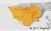 Political Panoramic Map of Istra, lighten, desaturated