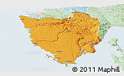 Political Panoramic Map of Istra, lighten