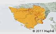 Political Panoramic Map of Istra, lighten, semi-desaturated