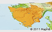 Political Panoramic Map of Istra, physical outside