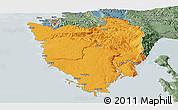 Political Panoramic Map of Istra, semi-desaturated