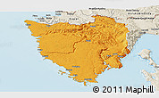 Political Panoramic Map of Istra, shaded relief outside