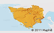 Political Panoramic Map of Istra, single color outside