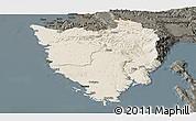 Shaded Relief Panoramic Map of Istra, darken