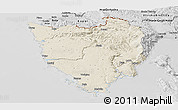 Shaded Relief Panoramic Map of Istra, desaturated