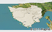 Shaded Relief Panoramic Map of Istra, satellite outside