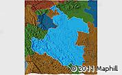 Political 3D Map of Karlovac, darken